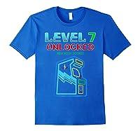 Level 7 Unlocked Birthday Gamer And Girls T-shirt Royal Blue