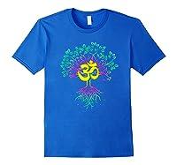 Tree Of Life Shanti Patha Om Yoga Prayer Shirts Royal Blue