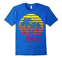 Goa 80s Summer Beach Palm Tree Sunset Shirts Royal Blue