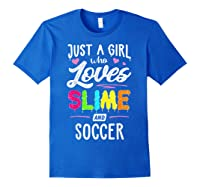 Just A Girl Who Loves E And Soccer Gift Shirts Royal Blue