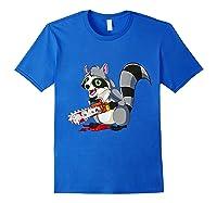 Spooky Halloween Costume Trash Panda Bloody Chainsaw Raccoon Shirts Royal Blue