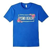 Pismo Beach California Floral Hibiscus Flower Shirts Royal Blue