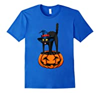 Witch Black Cat Funny Halloween Horror Scary Shirts Royal Blue