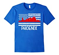 Phoenix Firefighter Red Line Skyline American Flag Hero Shirts Royal Blue