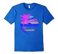 Vaporwave Aesthetic Summer Beach Sunset Palm T-shirt Royal Blue