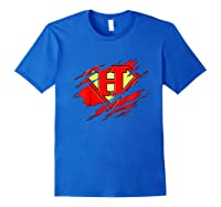 Birthday Gift Letter H Name Super Hero Accessories Apparel Shirts Royal Blue