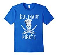 Fun Culinary T-shirt Vintage Culinary Pirate Skull Chef Hat Royal Blue