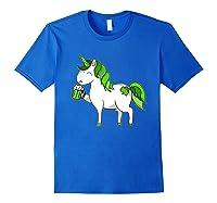 Lepricorn Unicorn St Patrick's Day With Green Clover Shirts Royal Blue