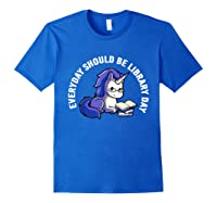 Cute Unicorn Reading Book Librarian Lover Library 2019 Shirt Royal Blue