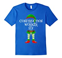 Construction Worker Elf Matching Family Christmas Design Shirts Royal Blue