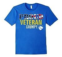 Proud Veteran Grumpy With American Flag Veteran Day Gift Shirts Royal Blue