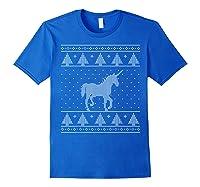 Unicorn Ugly Christmas Sweater, Funny Holiday Gift Shirts Royal Blue