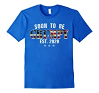Soon To Be Grumpy Est 2020 American Flag For New Dad Gift Shirts Royal Blue