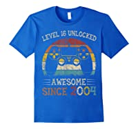 Vintage Video Level 16 Unlocked Gamers 16th Birthday Gifts Shirts Royal Blue