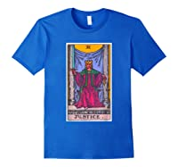 Justice Tarot Card Psychic Occult Metaphysical Shirts Royal Blue
