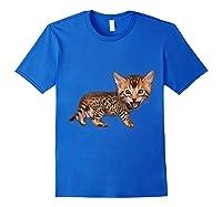 Cat Caricature - Funny Domestic Bengal Cat Kitten Tshirt Royal Blue