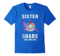 Sister Shark Shirt Doo Doo - Shark Sunglasses Flag America Royal Blue