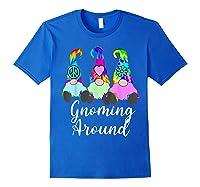 Gnoming Around 3 Hippie Gnomes Tie Dye Hat Retro Peace T-shirt Royal Blue