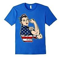 Rosie The Riveter Bandana Feminist Usa Flag 4th Of July T-shirt Royal Blue
