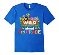 Wild About 3rd Third Grade Tea Student Back To School T-shirt Royal Blue
