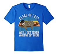 Distressed 5th Grade Class Of 2027 Sloth Grow With Me T-shirt Royal Blue