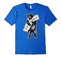 Bear Hug I Love California Art Retro Vintage Cali Bear Shirts Royal Blue