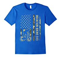 Mountain Biking Dad Camouflage American Flag Fathers Day Shirts Royal Blue