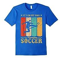 Retro Vintage Soccer Design 1970s T-shirt Royal Blue