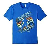 Vintage Retro Basketball Shirt Colorful Tshirt Royal Blue