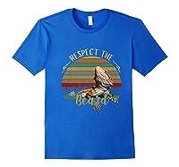 Vintage Respect The Beard Funny Bearded Dragon Lizard Shirts Royal Blue