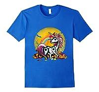 Unicorn Skeleton Pumpkin Funny Unicorn Halloween Horror Gift T-shirt Royal Blue