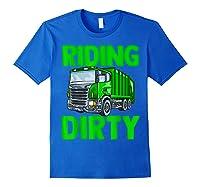 Recycling Trash Garbage Truck Riding Dirty Shirts Royal Blue