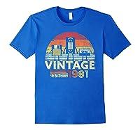 1981 Shirt. Vintage Birthday Gift, Funny Music, Tech Humor T-shirt Royal Blue