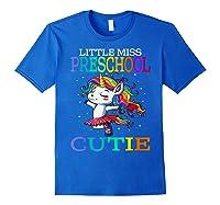Little Miss Preschool Cutie Unicorn Back To School Girls T-shirt Royal Blue