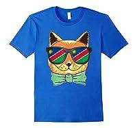 Namibia Flag Namibia Cat Sunglasses Shirt Royal Blue