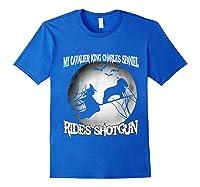 Cavalier King Charles Spaniel Rides Shotgun Halloween Shirts Royal Blue