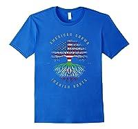 American Grown Iranian Roots Iran Flag T-shirt Royal Blue