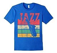 Saxophone Baritone Jazz Music Retro Vintage Gift T-shirt Royal Blue