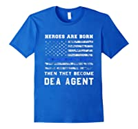 Agent Hero Born As An Officer Thin Blue Line Shirts Royal Blue