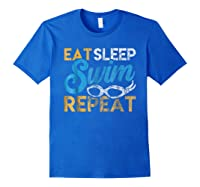 Eat Sleep Swim Repeat Funny Swimmer Gif Shirts Royal Blue