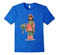 Vintage Traditional National Chinese Costume Doll Shirts Royal Blue