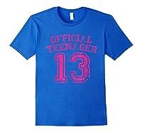 Nager Pink Funny 13th Birthday Girls Shirts Royal Blue