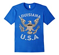 Louisiana Usa Patrio Eagle Vintage Distressed Shirts Royal Blue