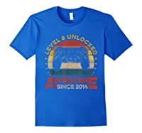 Retro 6th Birthday Gamer Level 6 Unlocked Awesome Since 2014 T-shirt Royal Blue