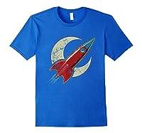 Retro Red Rocket T-shirt Royal Blue