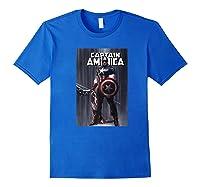 Marvel Captain America Flag Comic Cover Premium T-shirt Royal Blue