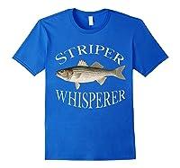 Striper Whisperer Striped Bass Fish Illustration Fishing T-shirt Royal Blue