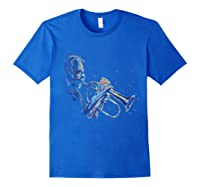 Trumpet Jazz Player Abstract Music Tea Trumpeter Gift Shirts Royal Blue