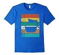 Coffee 70\\\'s Retro Style Distressed Stripes Premium T-shirt Royal Blue