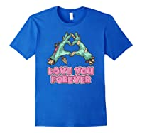 Love You Forever Zombie Heart T-shirt Royal Blue